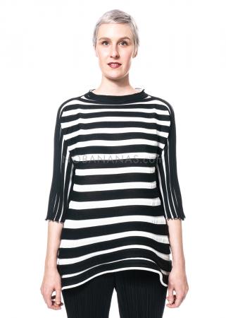 PLEATS PLEASE ISSEY MIYAKE, Strickshirt aus Wollmix in Schwarz/Weiß