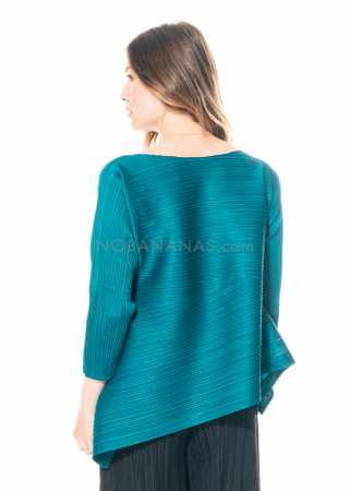 PLEATS PLEASE ISSEY MIYAKE, asymmetrical cut in turquoise green