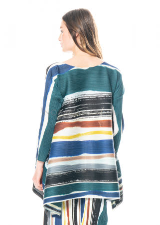 PLEATS PLEASE ISSEY MIYAKE, long sleeve tunic with stripe print
