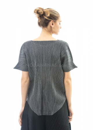 PLEATS PLEASE ISSEY MIYAKE, pointed sleeve shirt in dark grey