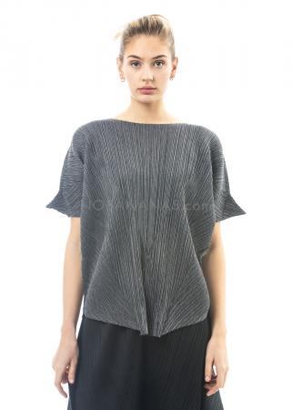 PLEATS PLEASE ISSEY MIYAKE, Shirt mit Zipfel-Ärmeln in Dunkelgrau