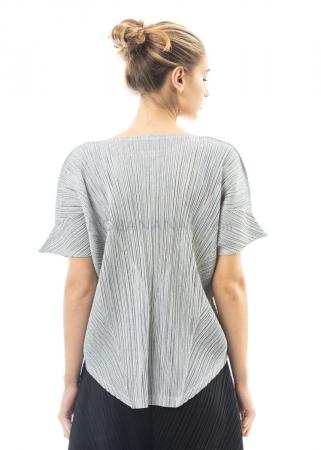 PLEATS PLEASE ISSEY MIYAKE, Shirt mit Zipfel-Ärmeln in Hellgrau