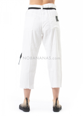 serien° umerica, linen trousers with frayed hem white