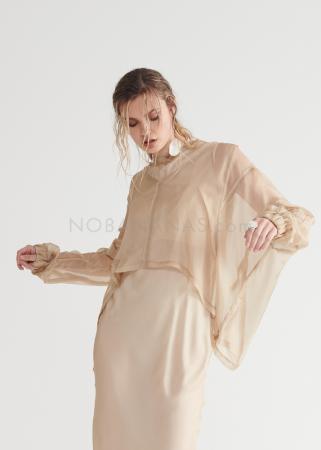 SYMETRIA, transparent tunic with asymmetrical hemline